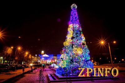 На бульваре Шевченко в Запорожье зажгла свои огни новогодняя елка