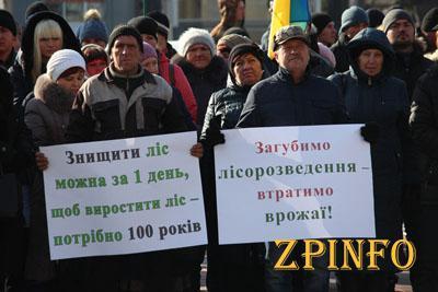 Сегодня в центре Запорожья митинговали лесники