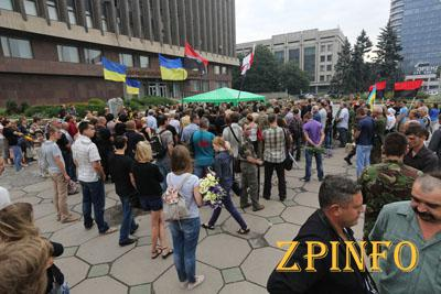 В центре Запорожья состоялось прощание с погибшим в АТО бойцом ПС (Видео)