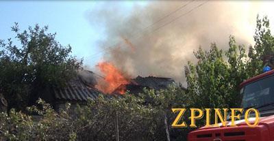 В Запорожье во дворе дома произошел масштабный пожар