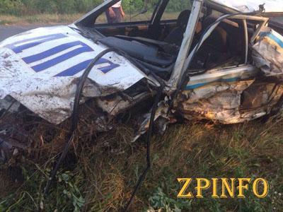 В Запорожской области полицейская машина попала в ДТП