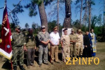 Запорожских бойцов АТО посвятили в казаки